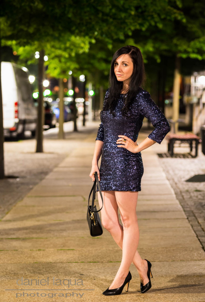 Ready for NYC : blue sparkling sequin dress