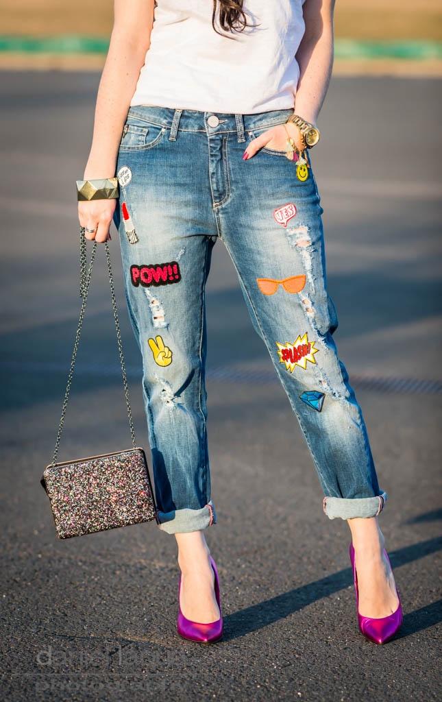schockverliebt jeans mit patches und glitzertasche julies dresscode. Black Bedroom Furniture Sets. Home Design Ideas