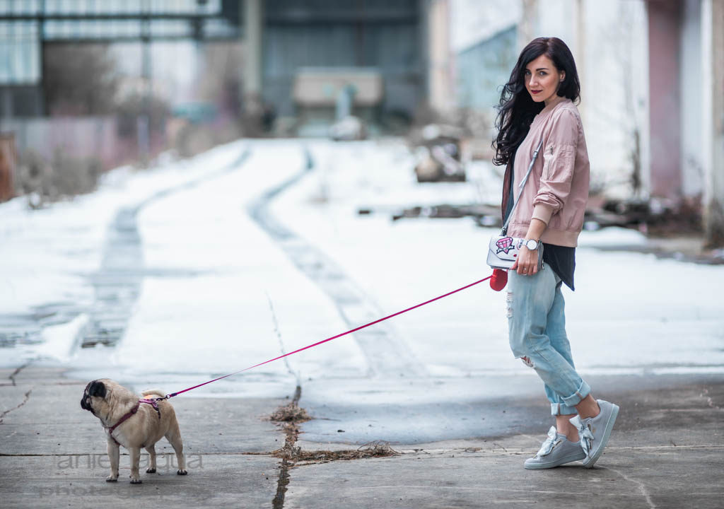Spring vibes rosa Blouson & Boyfriend Jeans Julies Dresscode