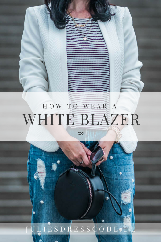 Casual Outfit Weißer Blazer & Perlenjeans Julies Dresscode Fashion Blog