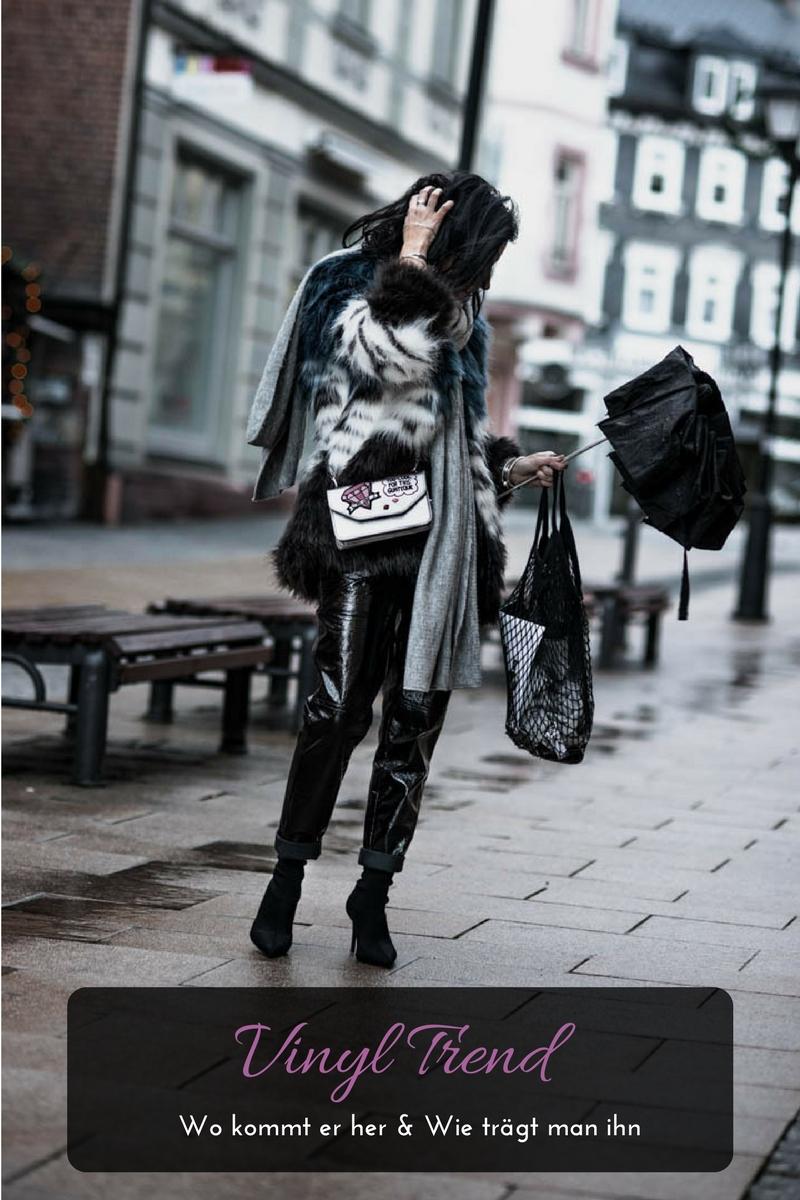 Vinyl Pants und Fake Fur Jacke alles zum Vinyl Trend Julies Dresscode Fashion Blog