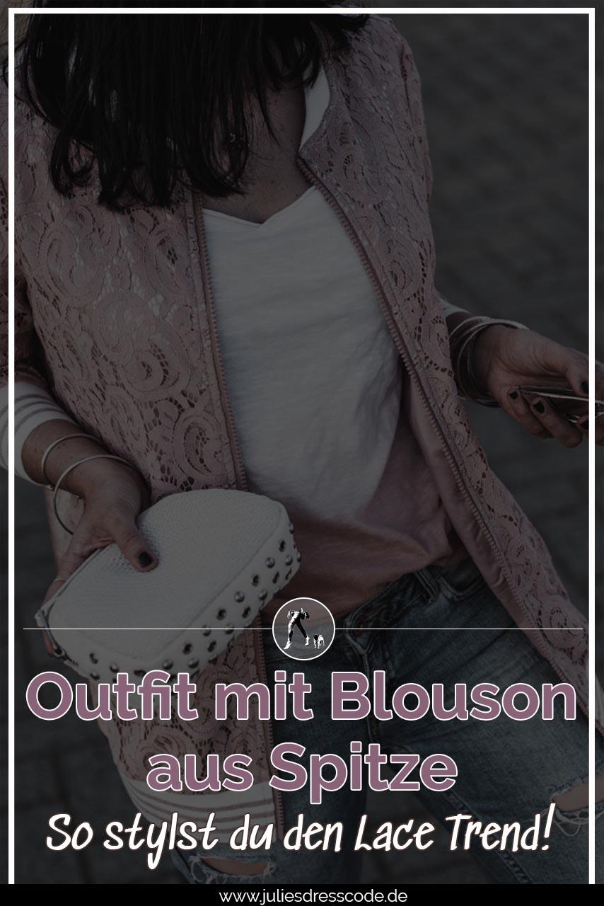 Outfit mit Blouson aus Spitze