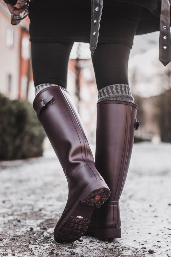 huge discount 84781 c7452 Hunter Boots kombinieren - Outfitidee mit weinroten ...