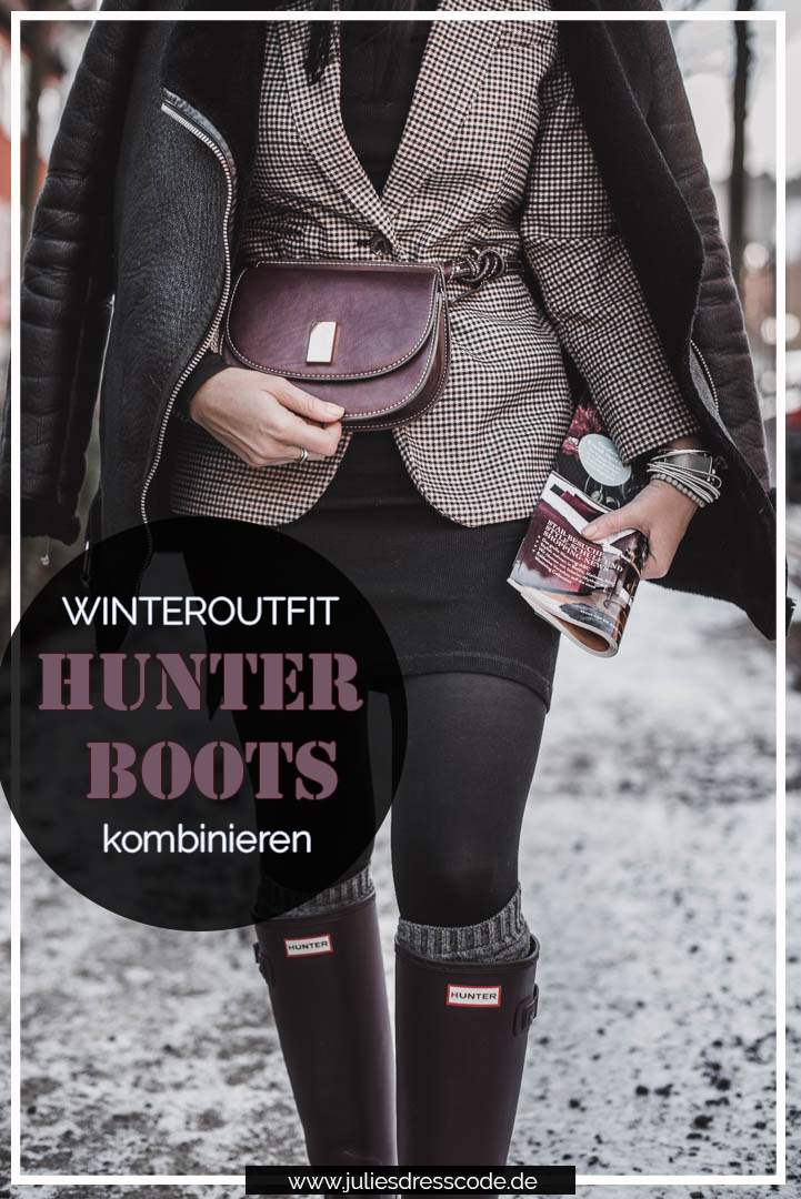Hunter Boots kombinieren - Outfitidee mit weinroten Gummistiefeln Julies Dresscode Fashion & Lifestyle Blog
